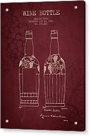 1937 Wine Bottle Patent - Red Wine Acrylic Print by Aged Pixel