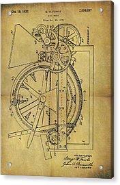 1937 Wine Press Patent Acrylic Print