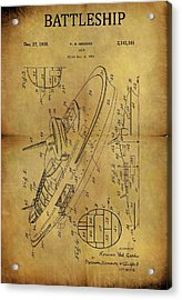 1938 Battleship Patent Acrylic Print
