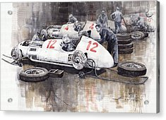 1938 Italian Gp Mercedes Benz Team Preparation In The Paddock Acrylic Print by Yuriy  Shevchuk