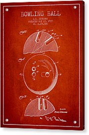 1939 Bowling Ball Patent - Red Acrylic Print by Aged Pixel