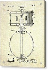 1939 Slingerland Snare Drum Patent S1 Acrylic Print