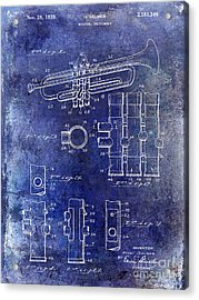 1939 Trumpet Patent Blue Acrylic Print by Jon Neidert