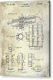 1939 Trumpet Patent Acrylic Print by Jon Neidert