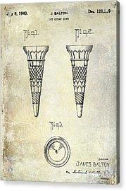 1940 Ice Cream Cone Patent Acrylic Print