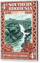 Acrylic Print featuring the painting 1940 Southern Rhodesia Victoria Falls Bridge  by Historic Image