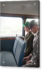 1940s Couple Sitting On A Vintage Bus Acrylic Print by Lee Avison