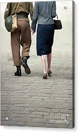 1940s Couple Soldier And Civilian Holding Hands Acrylic Print