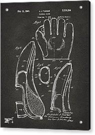 1941 Baseball Glove Patent - Gray Acrylic Print by Nikki Marie Smith