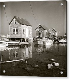 Acrylic Print featuring the photograph 1941 Lobster Shacks, Martha's Vineyard by Historic Image