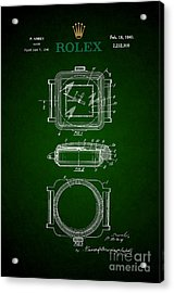 1941 Rolex Watch Patent 3 Acrylic Print by Nishanth Gopinathan