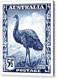 1942 Australia Emu Bird Postage Stamp Acrylic Print