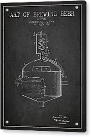 1944 Art Of Brewing Beer Patent - Charcoal Acrylic Print by Aged Pixel