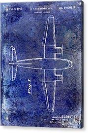 1945 Transport Airplane Patent Blue Acrylic Print