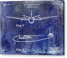 1946 Airplane Patent Blue Acrylic Print