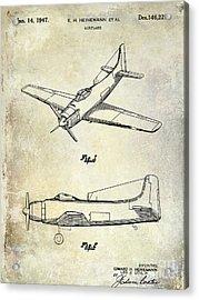 1947 Airplane Patent Acrylic Print