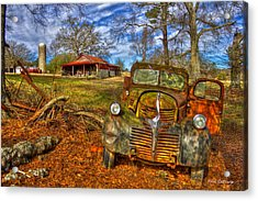 1947 Dodge Dump Truck Country Scene Art Acrylic Print by Reid Callaway