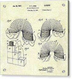 1947 Slinky Patent Acrylic Print by Dan Sproul
