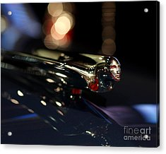 1948 Cadillac Coupe Hood Ornament Acrylic Print by Wingsdomain Art and Photography