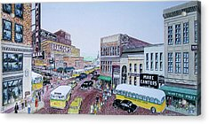 1948 Rush Hour Portsmouth Ohio Acrylic Print by Frank Hunter