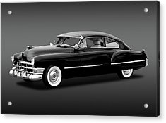 Acrylic Print featuring the photograph 1949 Cadillac Two Door Sedan  -  49cadillacsedanbw172173 by Frank J Benz