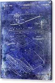 1949 Helicopter Patent Blue Acrylic Print