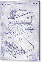 1949 Helicopter Patent Blueprint Acrylic Print by Jon Neidert