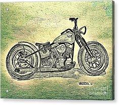 1950 Harley Davidson Panhead Motorcycle - Abstract Acrylic Print by Scott D Van Osdol