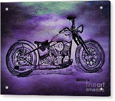 1950 Harley Davidson Panhead Motorcycle - Purple Moon Acrylic Print by Scott D Van Osdol