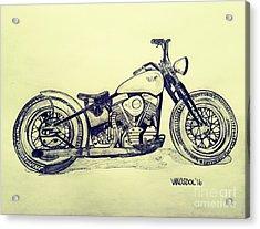 1950 Harley Davidson Panhead Motorcycle - Vintage Acrylic Print by Scott D Van Osdol