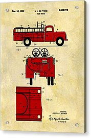 1950 Red Firetruck Patent Acrylic Print