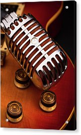1950's Classic Guitar And Microphone Acrylic Print by Hal Bergman