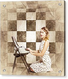 1950s Fictional Pinup Writer Acrylic Print by Jorgo Photography - Wall Art Gallery