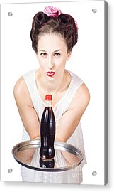 1950s Pin Up Woman With Drinks Tray Acrylic Print by Jorgo Photography - Wall Art Gallery