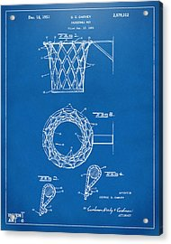 1951 Basketball Net Patent Artwork - Blueprint Acrylic Print by Nikki Marie Smith