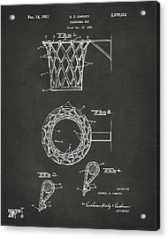 Acrylic Print featuring the digital art 1951 Basketball Net Patent Artwork - Gray by Nikki Marie Smith