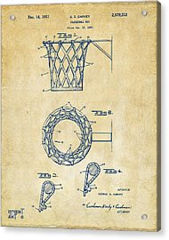 Acrylic Print featuring the digital art 1951 Basketball Net Patent Artwork - Vintage by Nikki Marie Smith