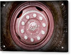 1952 L Model Mack Pumper Fire Truck Wheel Emblem -0010ac Acrylic Print by Jill Reger