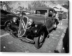 Acrylic Print featuring the photograph 1953 Citroen Traction Avant Bw by Rich Franco