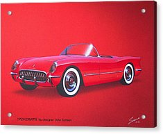 1953 Corvette Classic Vintage Sports Car Automotive Art Acrylic Print by John Samsen