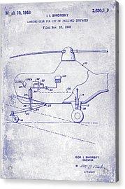 1953 Helicopter Patent Blueprint Acrylic Print by Jon Neidert