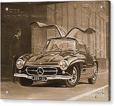 1954 Mercedes Benz 300 Sl  In Sepia Acrylic Print