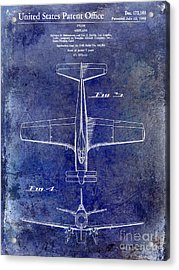 1955  Airplane Patent Drawing 2 Blue Acrylic Print