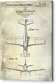1955  Airplane Patent Drawing 2 Acrylic Print