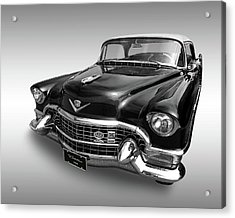 Acrylic Print featuring the photograph 1955 Cadillac Black And White by Gill Billington