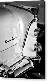 1955 Dodge Coronet Tail Light Emblem -0050bw Acrylic Print by Jill Reger