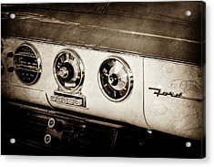 Acrylic Print featuring the photograph 1955 Ford Fairlane Dashboard Emblem -0444s by Jill Reger
