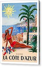 1955 France Visit La Cote D'azur Travel Poster Acrylic Print