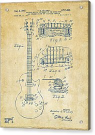 Acrylic Print featuring the drawing 1955 Mccarty Gibson Les Paul Guitar Patent Artwork Vintage by Nikki Marie Smith