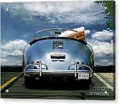 1955 Porsche, 356a, 1600 Speedster, Aquamarin Blue Metallic, Louis Vuitton Classic Steamer Trunk Acrylic Print